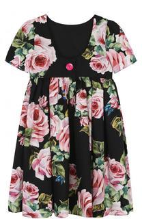 Хлопковое платье с завышенной талией и принтом Dolce & Gabbana