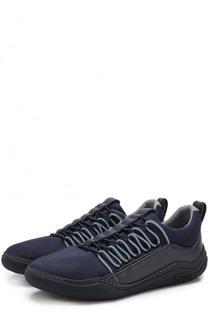 Текстильные кроссовки без шнуровки с кожаной отделкой Lanvin