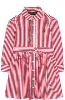 Хлопковое платье с поясом в полоску Polo Ralph Lauren