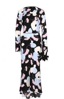 Приталенное платье-миди с принтом и длинным рукавом Marni