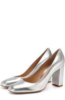 Туфли Linda из металлизированной кожи на устойчивом каблуке Gianvito Rossi