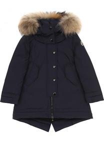 Пуховая куртка с меховой отделкой на капюшоне Moncler Enfant