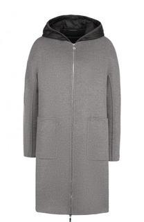 Пальто свободного кроя из смеси шерсти и кашемира с пуховой подстежкой Moncler