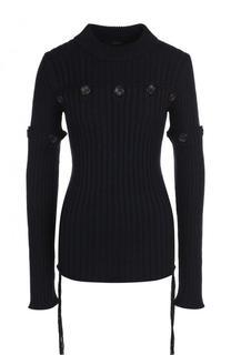 Приталенный шерстяной пуловер фактурной вязки Joseph