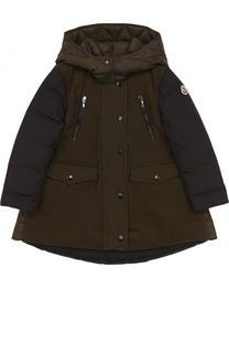 Пуховое пальто свободного кроя с капюшоном Moncler Enfant