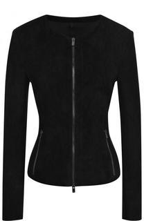 Приталенная замшевая куртка на молнии DROMe
