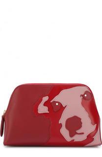 Кожаная косметичка с аппликацией на молнии Diane Von Furstenberg