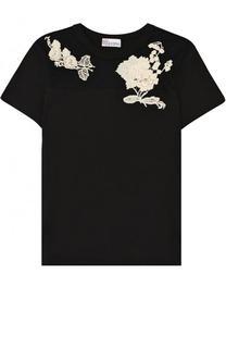 Хлопковая футболка с прозрачной вставкой и контрастной вышивкой REDVALENTINO