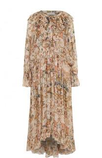 Платье-миди свободного кроя с оборками и принтом Zimmermann