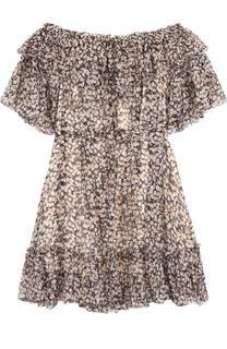 Шелковое мини-платье с принтом и поясом Zimmermann