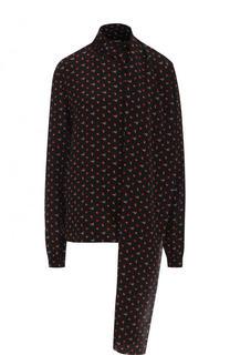 Шелковая блуза с воротником аскот и принтом Saint Laurent