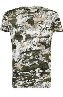Льняная футболка с камуфляжным принтом 120% Lino