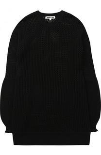 Удлиненный шерстяной пуловер фактурной вязки MCQ