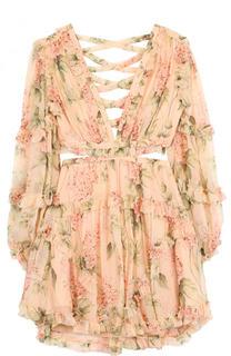 Шелковое мини-платье с цветочным принтом Zimmermann