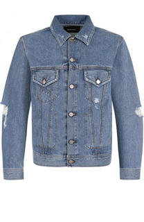 Джинсовая куртка на пуговицах с потертостями Diesel