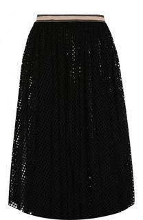 Однотонная перфорированная юбка-миди с широким поясом By Malene Birger