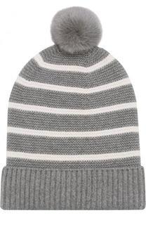 Кашемировая вязаная шапка с меховым помпоном Loro Piana