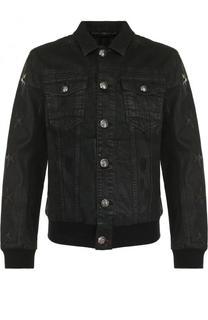 Джинсовая куртка на пуговицах с нашивками Philipp Plein