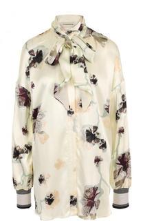 Блуза свободного кроя с воротником аскот и принтом By Malene Birger