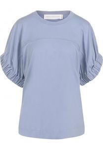 Хлопковая футболка с круглым вырезом и драпированными рукавами Victoria by Victoria Beckham