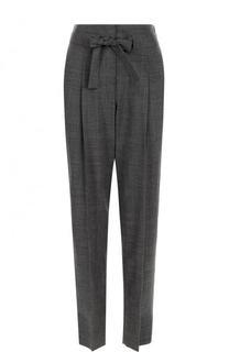 Укороченные шерстяные брюки с защипами и поясом Windsor