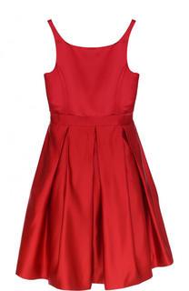 Шелковое платье с защипами и на тонких бретельках Polo Ralph Lauren