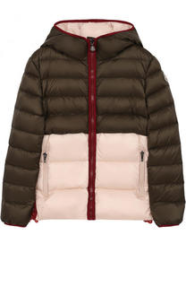 Пуховая куртка с капюшоном и кружевной отделкой Moncler Enfant