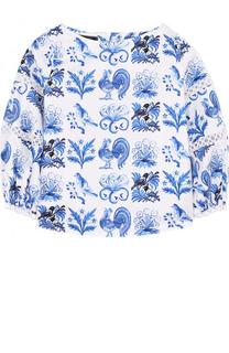 Хлопковая блуза с принтом и кружевной отделкой Oscar de la Renta