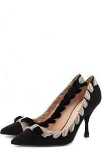 Замшевые туфли с бархатной отделкой на шпильке Fendi