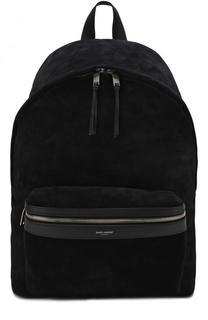 Замшевый рюкзак City с внешним карманом на молнии Saint Laurent