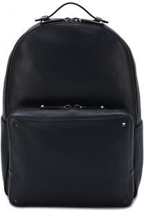 Кожаный рюкзак с внешним карманом на молнии Valentino
