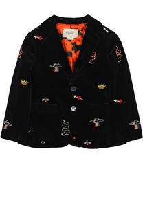 Бархатный пиджак с вышивками Gucci