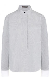 Хлопковая блуза свободного кроя с воротником-стойкой Windsor