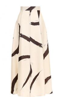 Шелковая юбка-макси с широким поясом и принтом Zimmermann