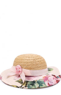 Соломенная шляпа с текстильной отделкой Dolce & Gabbana