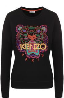 Хлопковый свитшот с контрастной вышивкой Kenzo