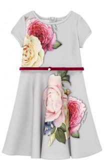 Платье из неопрена с принтом и бархатным поясом Monnalisa