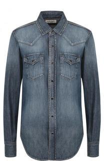 Джинсовая блуза с накладными карманами и потертостями Saint Laurent