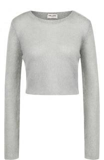Укороченные вязаный пуловер с круглым вырезом Saint Laurent