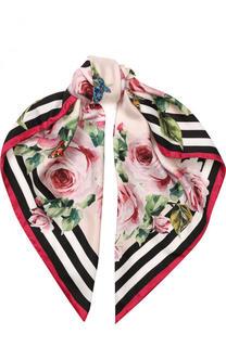 Шелковый платок с цветочным принтом Dolce & Gabbana