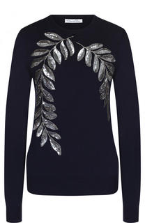 Однотонный шерстяной пуловер с контрастной вышивкой пайетками Oscar de la Renta