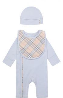 Пижама в комплекте с шапкой и нагрудником Burberry