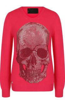 Кашемировый пуловер с круглым вырезом и декоративной отделкой Philipp Plein