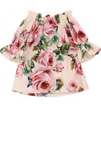 Хлопковая блуза с принтом и эластичными вставками Dolce & Gabbana