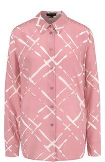 Шелковая блуза прямого кроя с принтом Escada