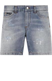 Джинсовые шорты из хлопка и льна с декоративными потертостями Dolce & Gabbana