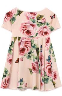 Платье из вискозы с принтом и кружевной отделкой Dolce & Gabbana