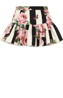 Юбка из хлопка и шелка с принтом и оборкой Dolce & Gabbana