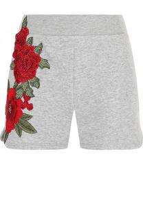Хлопковые мини-шорты с эластичным поясом и цветочной вышивкой Philipp Plein