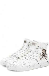 Высокие кожаные кеды на шнуровке с принтом Philipp Plein